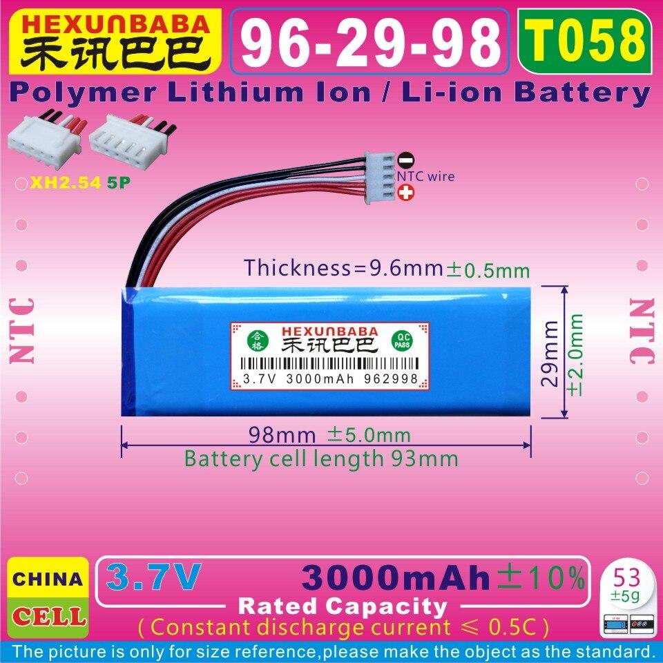 [T058] 3.7 v 3000 mah [962998] xhr2.54/5 p; ntc; bateria de iões de lítio de polímero para jbl flip