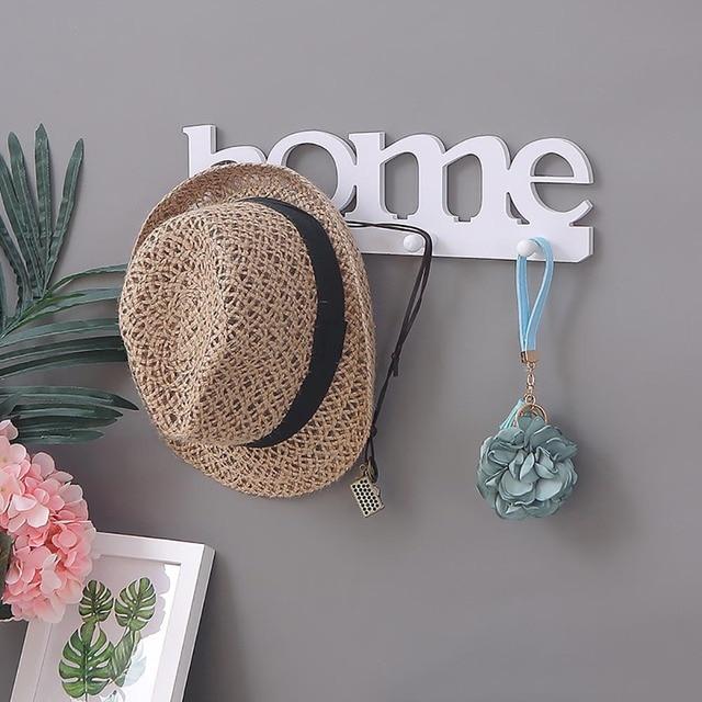 Chapeau blanc pour porte-clé, décoration intérieure, crochet mural de la maison, anneau à vêtements, porte suspendue de la salle de bain