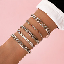 LETAPI 5PCS/set Silver Color Chain Bracelets & Bangles For Women Men Chunky Bracelet Couples Men Vintage Boho Jewelry