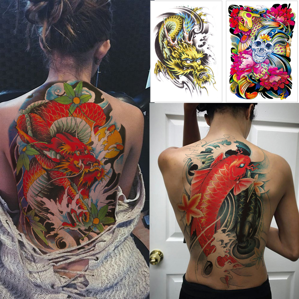 Full Back Large Temporary Tattoo Stickers Koi Skull Watercolor Body Tattoos Dragon Snake Big Tattoo On Back For Women