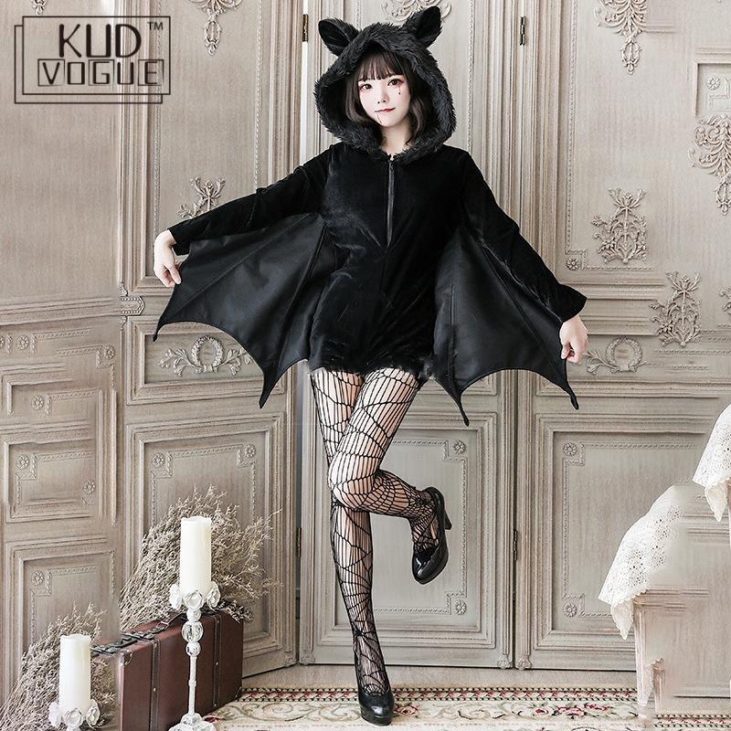 Black Vampire Bat Cosplay Costume Masquerade Woman Black Evil Horror Hooded Vampire Bat Sleeve Cosplay Halloween Costumes Cos