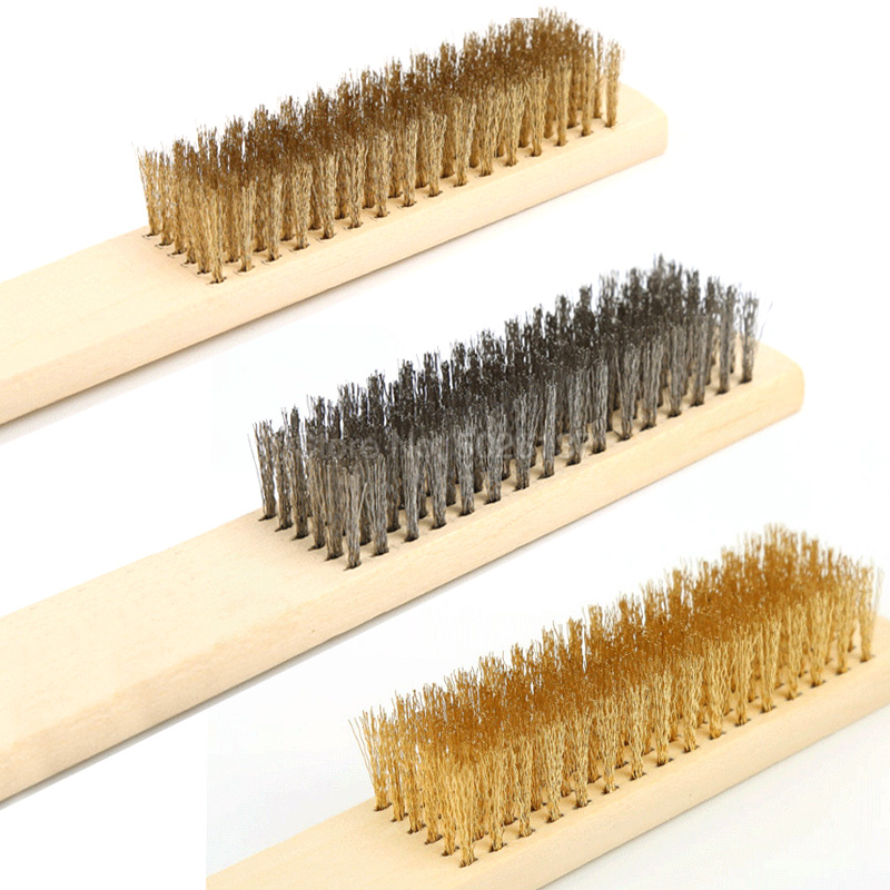 1Pcs 6X16 Row Wood Handle Brass Wire Brush Copper Polishing Grinding Cleaning Bristle Scratch Metal Derusting Tool