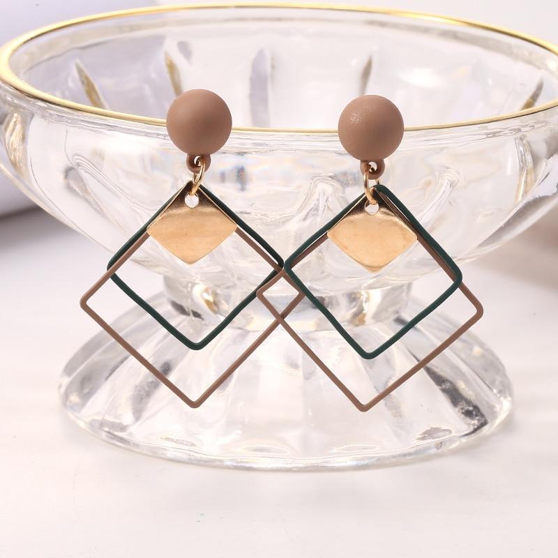Personality Alloy Geometric Drop Earrings Korean Wild Sequins Dangle Earring For Women Female Elegant Statement Fashion Jewelry in Drop Earrings from Jewelry Accessories
