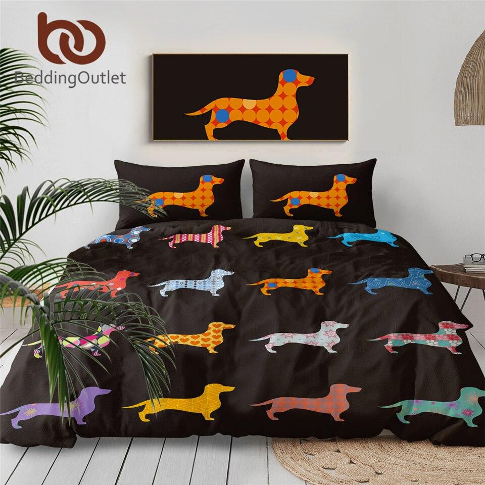 BeddingOutlet Dachshund Sausage Bedding Set Cute Colorful Puppy Duvet Cover Cartoon Pet Print Home Textiles Queen 3pcs Drop Ship