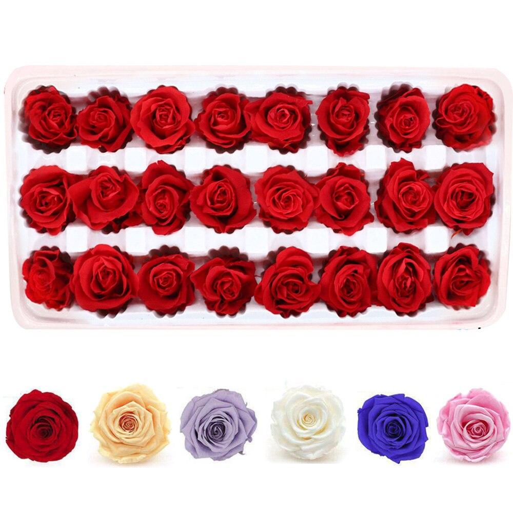 24 teile/schachtel Hohe Qualität 2-3CM Konservierte Blumen Blume Unsterblich Rose Durchmesser Mütter Tag Geschenk Ewige Leben Blume material Geschenk