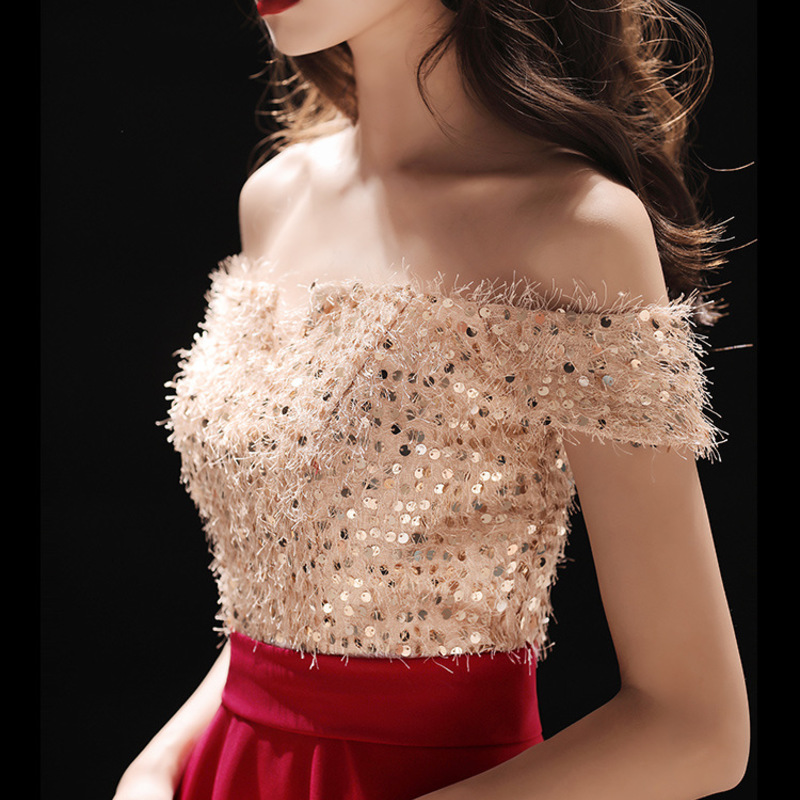 Vestido De Noiva Cocktail Dress Vestido Cocktail Gengli Toast Bride Autumn 2020 New Elegant Long Wedding Evening Dress Slim