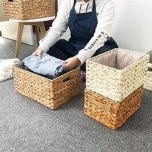 Corn Husk Woven Storage Baskets Box Rectangular Storage Container Sundries Organizer Home Basket Organization Office Tidy Tools