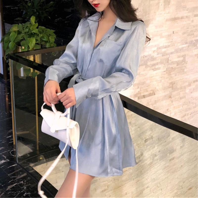 robe femme 2019 autumn korean fashion ladies dresses elegant solid color lace-up long sleeve sexy mini satin shirt dress women 1