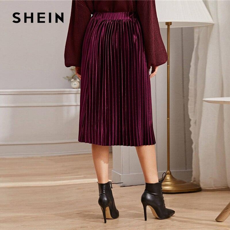 SHEIN Solid Pleated Velvet Glamorous Skirt Womens Bottoms Winter Streetwear High Waist Autumn Elegant Ladies Basic Midi Skirts 2