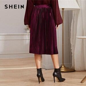 Image 2 - SHEIN однотонная плиссированная бархатная Гламурная юбка женская нижняя часть зимняя уличная Высокая талия Осенняя Элегантная Дамская базовая юбка миди
