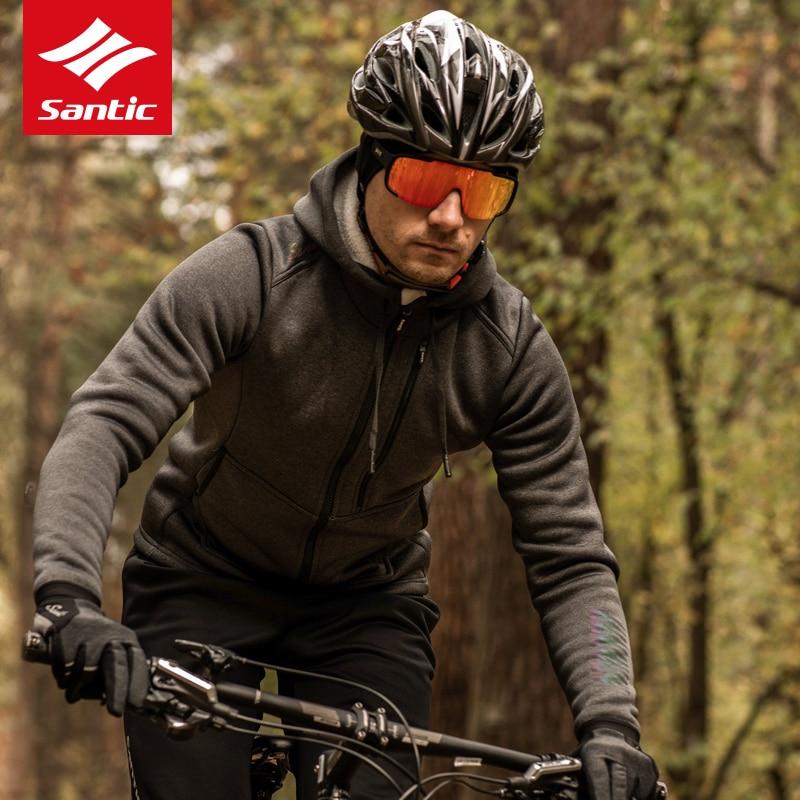 Santic мужские куртки для велоспорта, зимняя теплая ветрозащитная велосипедная одежда, теплый флис