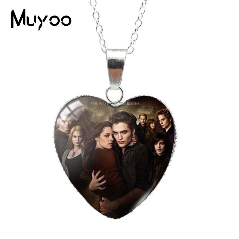 New Twilight Movie Bella Edward Jacob Renesmee Character Heart Pendant Necklace Handmade Jewelry Necklaces HZ3