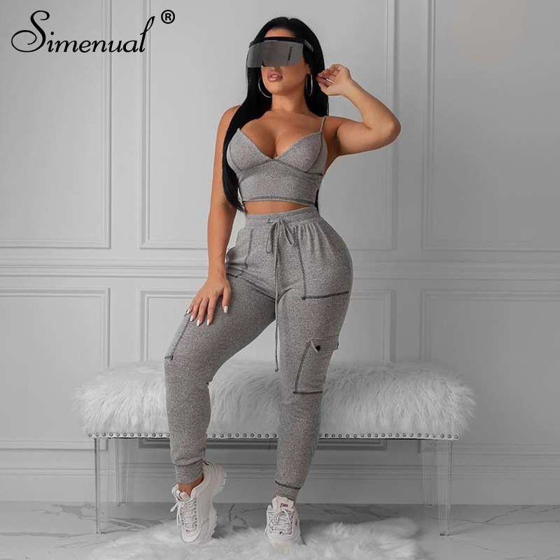 Simenual Sporty Sexy Fashion Matching Set Women Workout 2019 Autumn Jogger Set Pocket Sleeveless Top And Pants 2 Piece Outfits