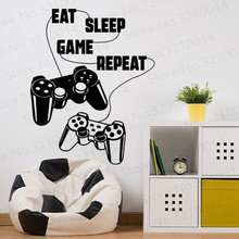 Eat Sleep Game Repeat Wall Decal. Gamer Video Zone Art Decor.  Decal PW219
