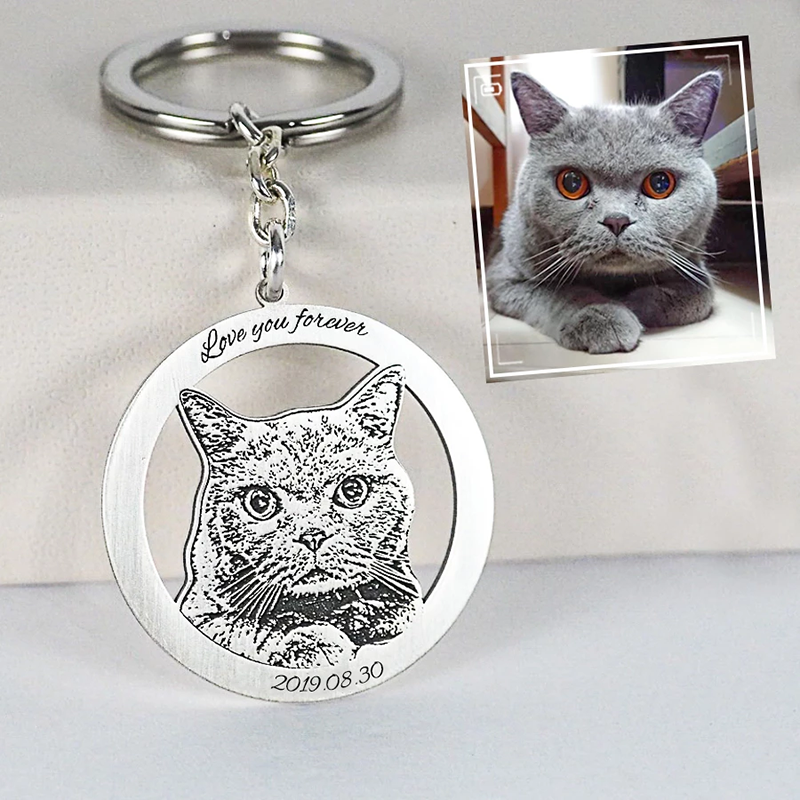 Personalized Photo Engraved Keychain(Hollowed Circle Frame)