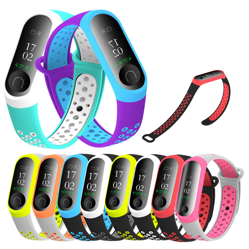 10Colors Silicone Wrist Strap For Xiaomi Mi Band 4 3 Strap Double Color Watch Replacement For Miband 3 4 Watch Smart Accessories