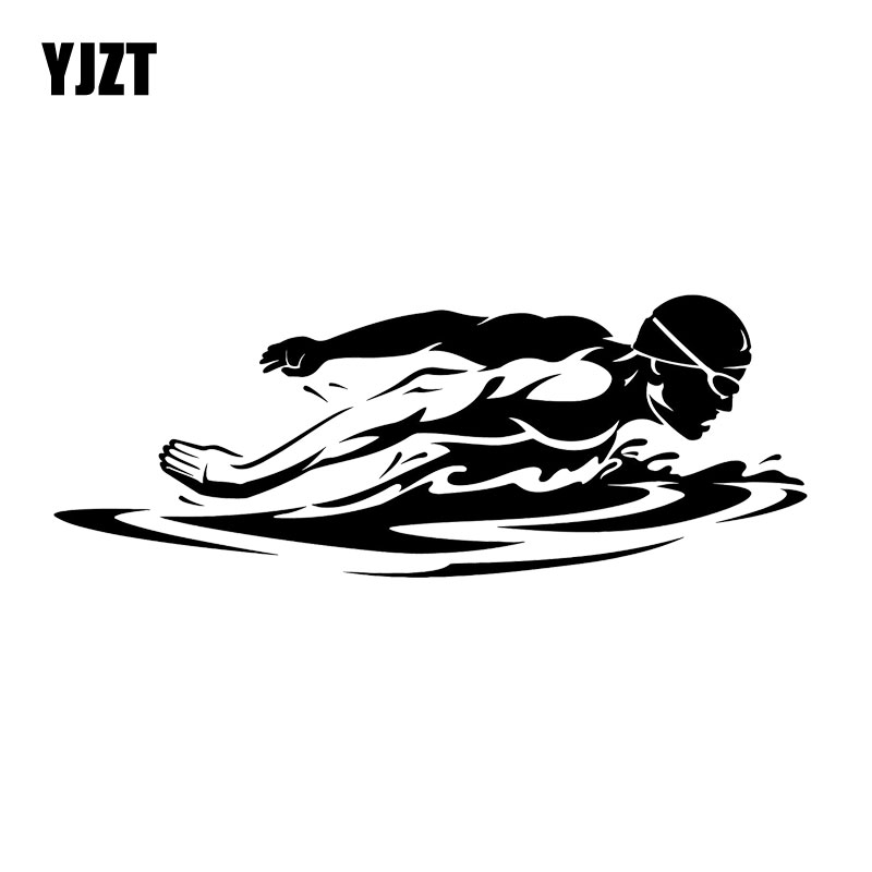 YJZT 17.2CM*6.4CM Swimming Swimmer Butterfly Stroke Fashion Vinyl Car Styling Car Sticker Black/Silver C31-0196