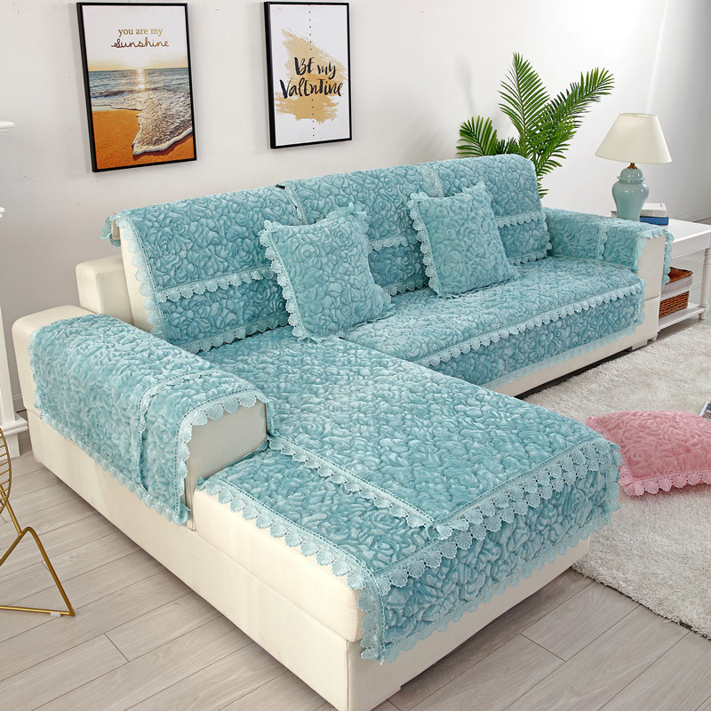 Thick Slip Resistant Couch Cover for Corner Sofa Made with Plush Fabric Including Lace for Living Room Decor 2