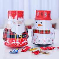 Christmas Candy Tin Storage Case Santa Claus Snowman Elk Print Gift Box Organizer for Christmas Random Color