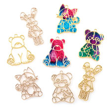 2 sztuk/zestaw śliczne Rose złoty niedźwiedź królik Fox Metal Hollow zwierząt rama wisiorek złoty urok Bezel ustawienie DIY zawieszka UV z żywicy