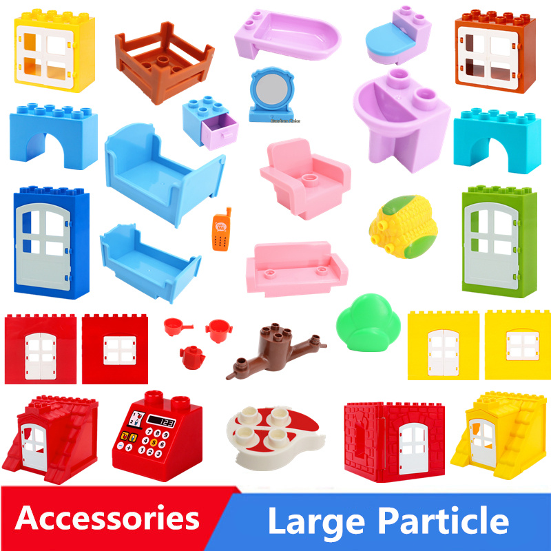 Diy Big Size Building Blocks Accessories House Furniture Sofa Bed Phone Compatible With Duploed Toys For Children Kids Gift