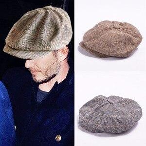 Autumn Winter Beret Caps herringbone tweed newsboy cap men Octagonal Cap flatcap, travel flat cap hat boina masculina