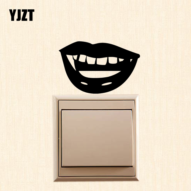 YJZT A Toothy Mouth Cartoon Creative Decor Wall Switch Sticker Vinyl Decal S19-0994 image