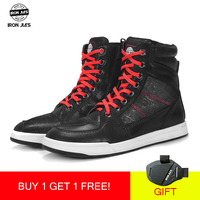 IronJia Motorcycle Boots Men Road Street Casual Shoes Microfiber Leather Moto Motocross Riding Boots Motorbike Shoes Size 39 46