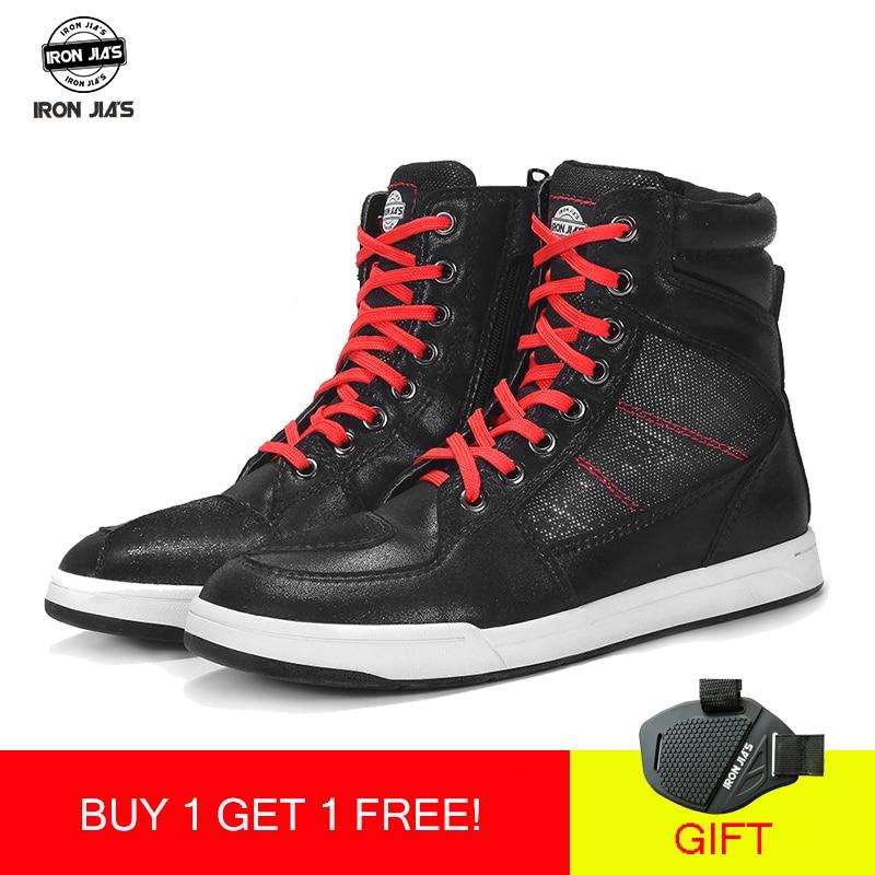 IronJia buty motocyklowe mężczyźni Road Street obuwie skóra z mikrofibry Moto Motocross buty jeździeckie buty motocyklowe rozmiar 39-46