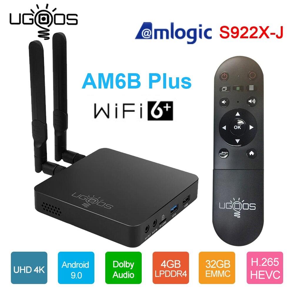 UGOOS AM6B Plus Amlogic S922X-J 2,2 ГГц Smart Android 9,0 ТВ коробка, 4 Гб оперативной памяти, 32 Гб встроенной памяти, 2,4G 5G Wi-Fi 6 1000M LAN Bluetooth 4K HD Декодер каналов кабельно...