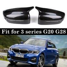 مواد الكربون الحقيقي مرآة الرؤية الخلفية غطاء غطاء لسيارات BMW 3 سلسلة G20 G28 استبدال نمط LHD