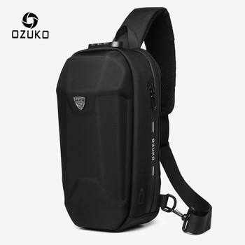 OZUKO Fashion Men Crossbody Bag Multifunction Anti-theft Shoulder Bags Male Waterproof USB Charge Short Trip Messenger Chest Bag