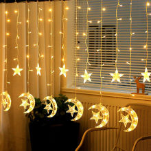 UK Plug 2.5M/ 8ft LED Fairy Curtain String Light Star Moon Lamp Night Light For Bedroom Home Decor With Memory Controller D25 цена и фото