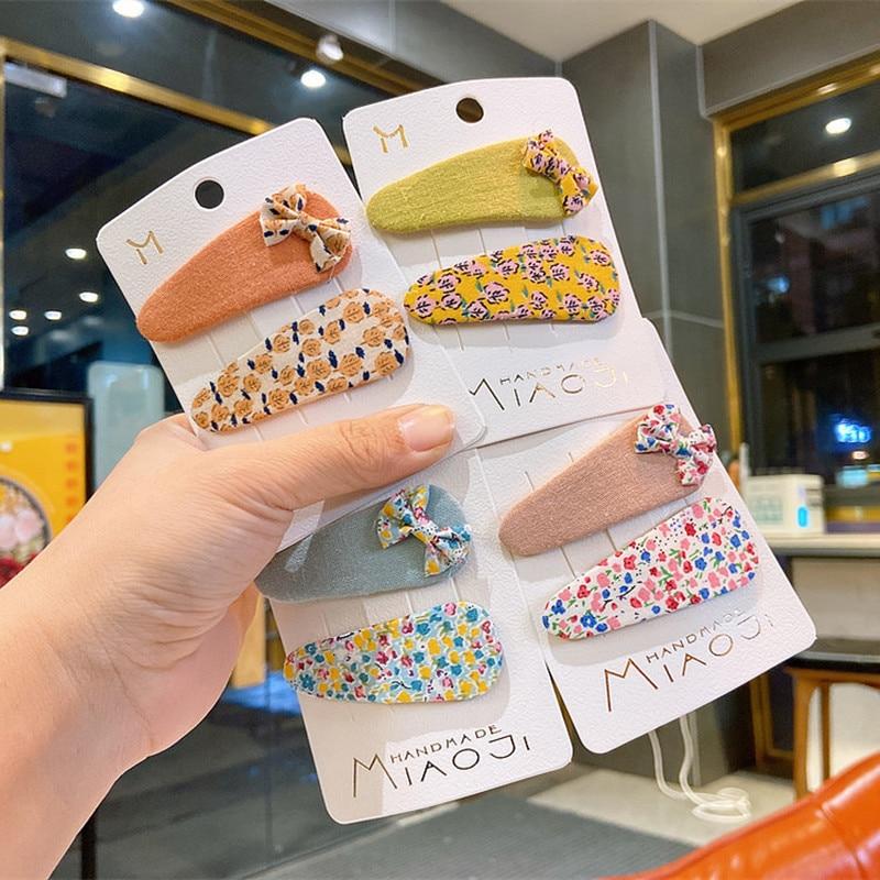 2020 New 2 Pcs Korean Simple Beautiful Pastoral Floral Fabric Bow BB Clip Fashion Sweet Girl Children Hairpins Hair Accessories
