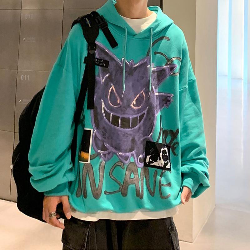 Autumn Winter New Devil Hoodie Men Fashion Casual Hoodies Loose Fleece Hip Hop Streetwear Men's Sweatshirt Anime Clothes 3