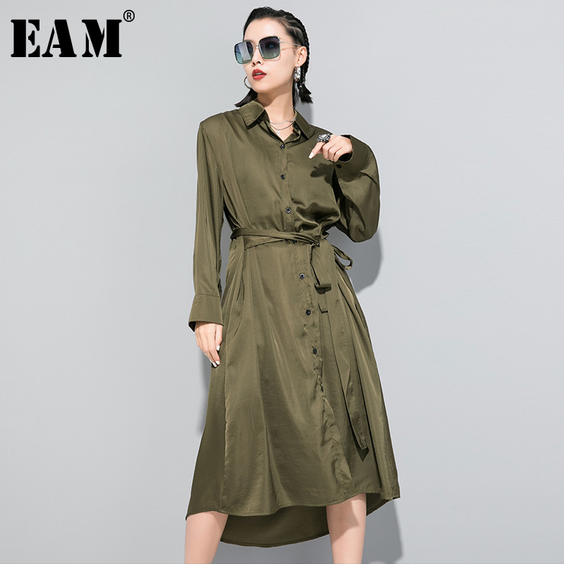[EAM] Women Black Green Bandage Temperament Shirt Dress New Lapel Long Sleeve Loose Fit Fashion Tide Spring Autumn 2020 1R646