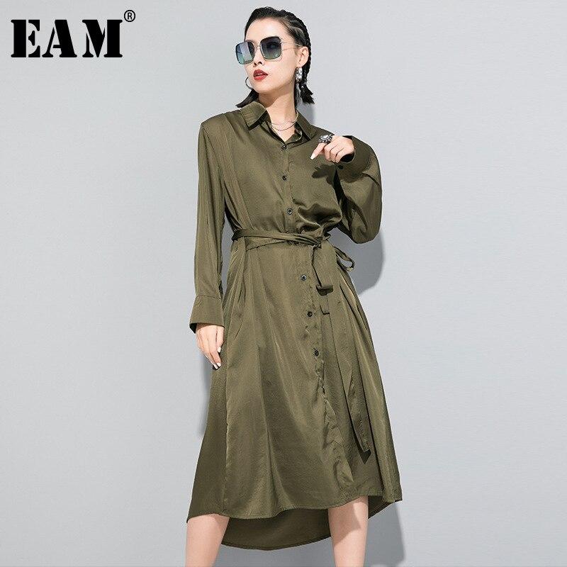 [EAM] Women Black Green Bandage Temperament Shirt Dress New Lapel Long Sleeve Loose Fit Fashion Tide Spring Autumn 2020 1R646