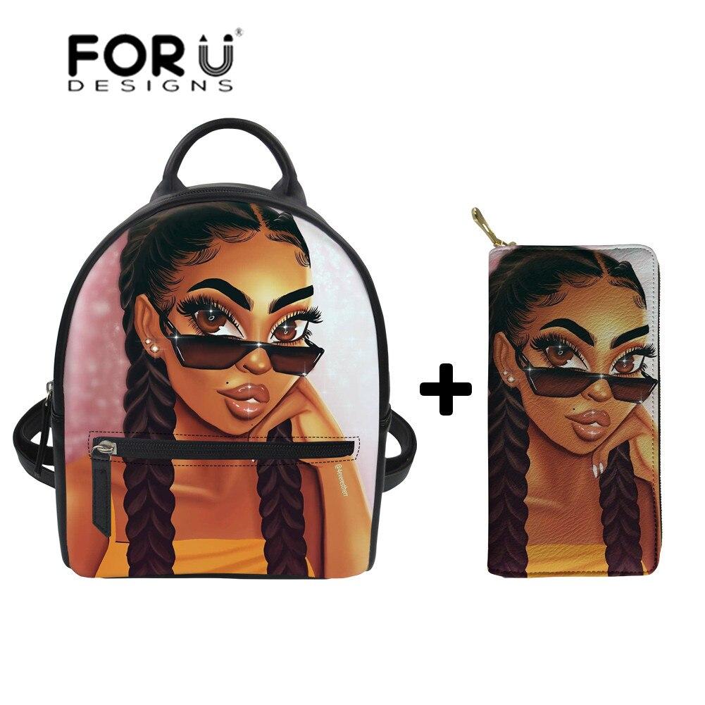 FORUDESIGNS Women's Shoulder Backpack African Girls Black Art Mini Backpack Ladies PU Leather Shoulder Bags For Females Bagpack
