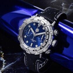 San Martin edycja limitowana zegarki automatyczne 200 metrów wodoodporny szwajcarski mechanizm ETA7753 Titanium Chronograph zegarek nurkowy w Zegarki mechaniczne od Zegarki na