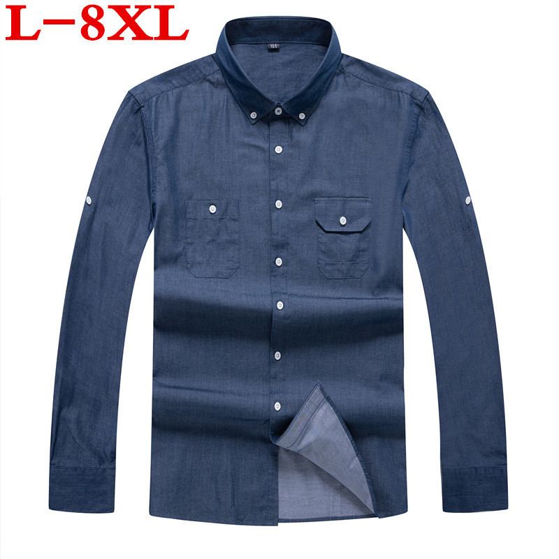 New  High  Quality  Plus Size 8XL 7XL 6XL 5XL Long Sleeve  Solid Mens Casual Social Shirts Big Size Men Blouse Work Clothes