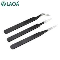 Laoa 3 pçs aço inoxidável apontado pinças pinças de boca curvada pinças|tweezers set|in 1|set tweezers -