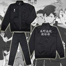 Quente legal anime haikyuu cosplay jaqueta preto esporte karasuno clube de voleibol da escola secundária uniforme traje jaqueta