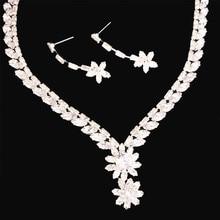 Luxury Zircon Rhinestone Necklace Earrings Princess Angela Jewelry Wedding Bride Bridesmaid Jewelry Set Valentine's Day Gift