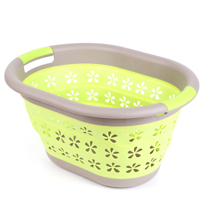Waterproof Storage Basket Bag Toy Dirty Laundry Basket Bag Clothes Toys Storage Box Sundries Silicone Collapsible Basket Green