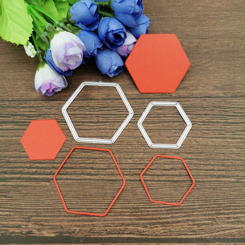 2Pcs Hexagonal Frame Metal Cutting Dies Stencils For DIY Scrapbooking Decorative Embossing Handcraft Die Cutting Template