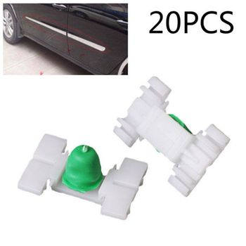 20pcs/set Plastic Car Door Bump Strip Fastener Clips Exterior Body Trim Moulding For BMW E36 image