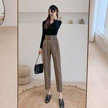 Новинка, Брендовые женские модные брюки с высокой талией, с поясом, шаровары, шерстяные зимние штаны, высокое качество, Pantalones Mujer