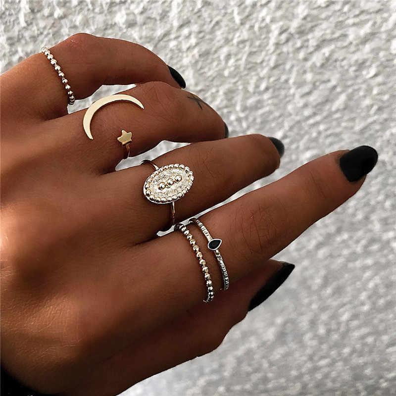 NOVA compra 21 Mulheres Estilo Bohemian Onda Do vintage Da Coroa Do Coração Da flor De Lótus Folha Estrela Conjuntos anel De Cristal Opala Anel conjunta Da Fêmea Do partido