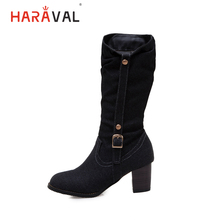 HARAVAL Fashion Lady Winter Mid-calf Boot Handmade Retro Round Toe Square Heel Shoes Solid Buckle Zipper Casual Sexy B256