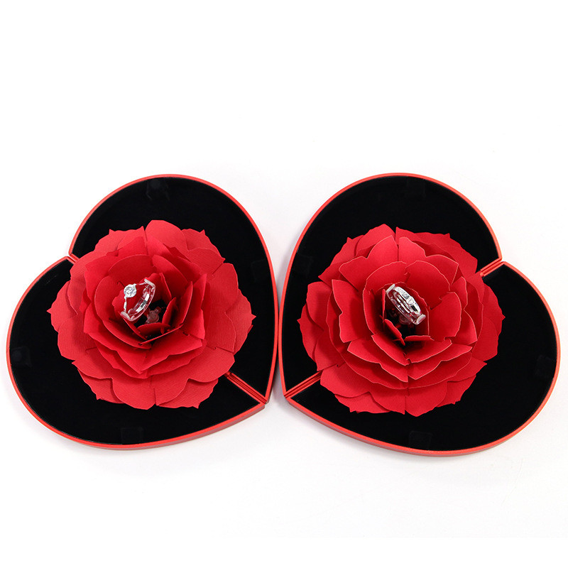 3D Pop Up Red Rose Flower Ring Box Wedding Engagement Box Jewelry Storage Holder Case